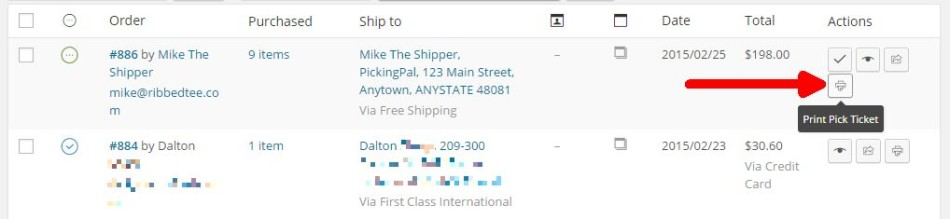 PickingPal: Print Pick Ticket action button