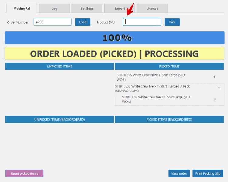 pickingpal order loaded: use pick reset override barcode