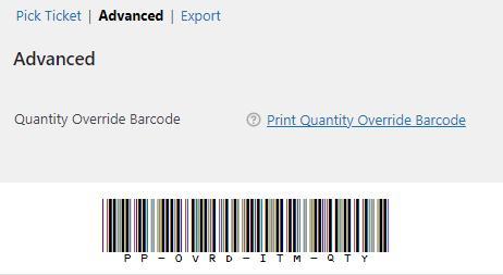 pickingpal print quantity override barcode