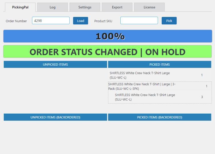 pickingpal switch order status via barcode after status change